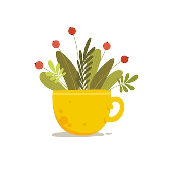 Plant bouquet with red berry in ceramic cup concept background. cartoon illustration of plant bouquet with red berry in ceramic cup vector concept background for web design