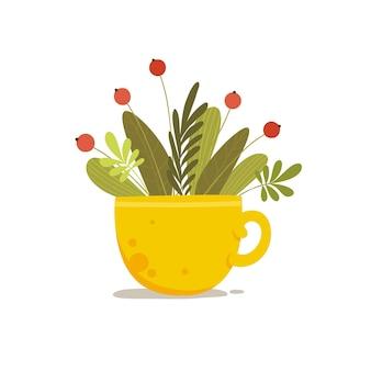 セラミックカップのコンセプトの背景に赤いベリーと花束を植えます。ウェブデザインのセラミックカップベクトルコンセプトの背景に赤いベリーと植物の花束の漫画イラスト