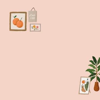 フレームの背景ベクトルかわいい描画ピンクのバナーで植物