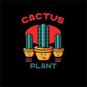 Pianta cactus illustrazione tatuaggio vintage per magliette