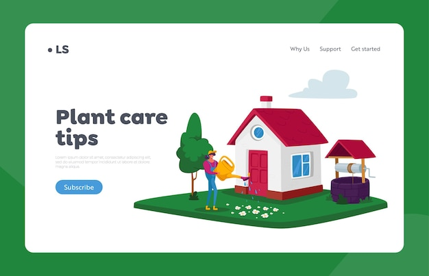 Plant care tips landing page template. woman watering flowers from can at house yard. girl caring for plants, gardening seasonal hobby, outdoor activity concept