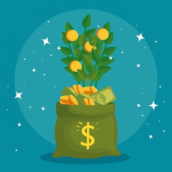 Plant of coins in bag money
