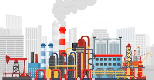 도시 배경에 공장 공장