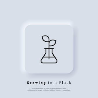 Plant in flask icon. chemical flask for organic experiments, research, growing plants, biology, pharmaceuticals. vector. ui icon. neumorphic ui ux white user interface web button. neumorphism