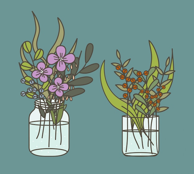 Plant and flower in a water glass illustration.