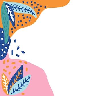 Plant frame element doodle pattern background.