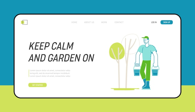 Plant growing hobby, yard works landing page template