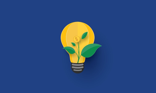 Plant growing inside light bulb with dollar sign concept inspiration business