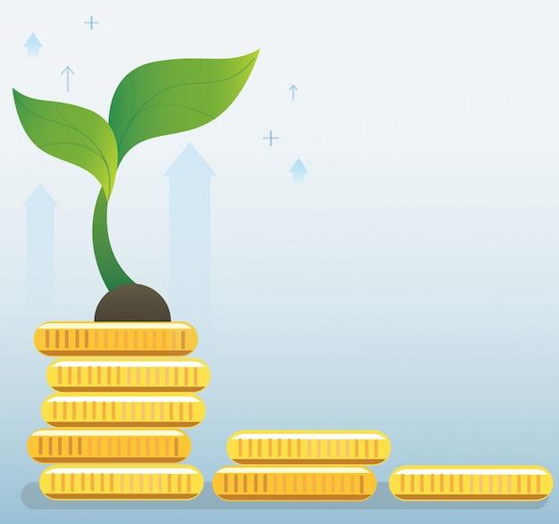 동전 그래프에 식물 성장