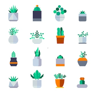 Plant icon set vector