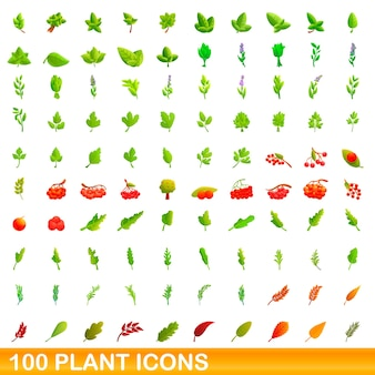 Plant icons set. cartoon illustration of  plant icons  set  on white background