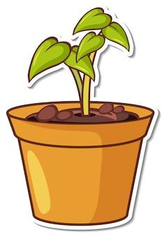흰색 바탕에 냄비 스티커에 식물