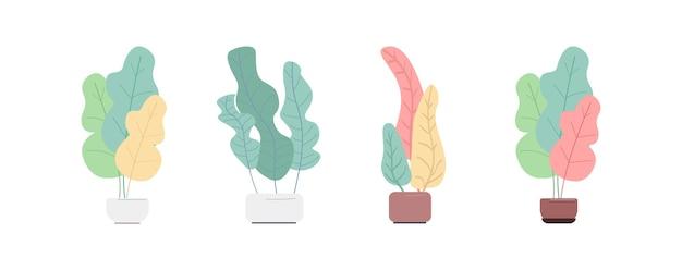 Завод в горшке набор плоских цветных объектов. вазоны с растениями. домашнее растение. домашние украшения. домашнее растение изолировало иллюстрацию шаржа для коллекции веб-графического дизайна и анимации