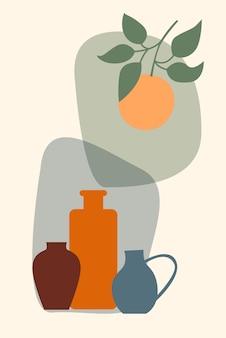 Растение в вазе бохо минималистская ваза иллюстрация