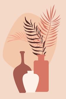 꽃병 패턴 배경에 식물, 디자인 보육 벽 장식, 티셔츠 인쇄, 상점 전단지, 현대 포스터 등을 위한 boho 미니멀리스트 꽃병 그림