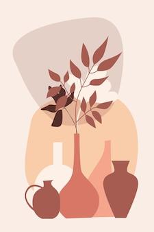 꽃병 패턴 배경에 식물, 디자인 보육 벽 장식, 티셔츠 인쇄, 상점 전단지, 현대 포스터 등을 위한 boho 미니멀리즘 꽃병 그림