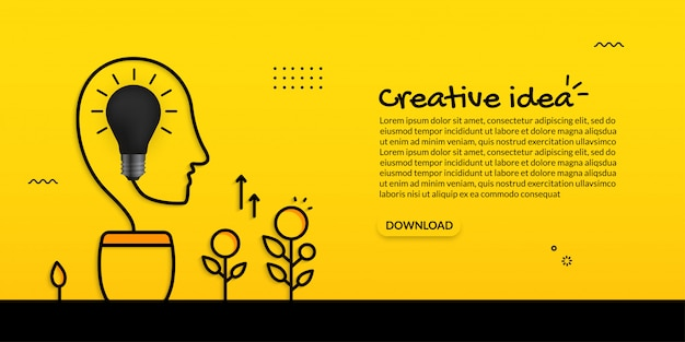 Plant of knowledge with human head and light bulb on yellow background