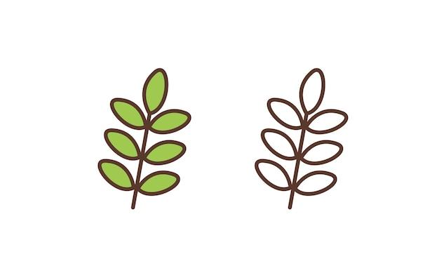 Линейная значок растений листвы
