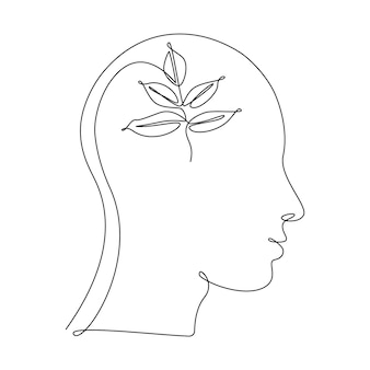 Plant leaves in human head in one line drawing. concept of ecology idea, clean mind, self development and successful mindset. abstract vector illustration isolated on white background