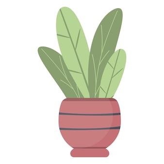 냄비에 식물 잎, 아름다운 녹색 관엽식물 격리 벡터. 실내 정원 장식 디자인을 위한 심플하고 트렌디한 플랫 스타일.