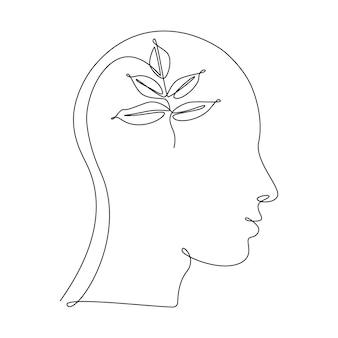 한 선 그림에서 인간의 머리에 식물 잎. 생태학적 아이디어, 깨끗한 마음, 자기 개발 및 성공적인 사고 방식의 개념. 흰색 배경에 고립 된 추상적인 벡터 일러스트 레이 션