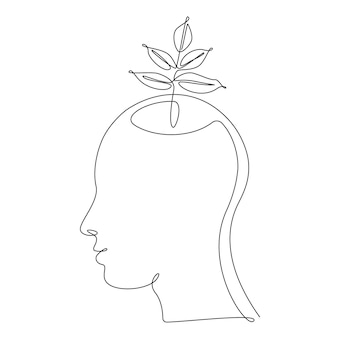 한 선 그림에서 인간의 머리에 식물 잎. 생태학적 아이디어, 깨끗한 마음, 자기 개발 및 성공적인 사고 방식의 개념. 벡터 일러스트 레이 션