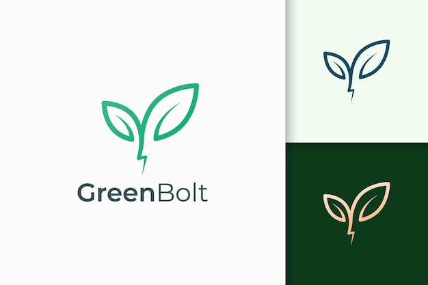 Plant and lightning logo in simple and modern shape