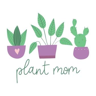 Plant mom hand drawn lettering witn house plants  vector illustration