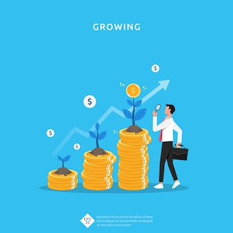 Plant money coin growth illustration for investment concept. business profit performance of return on investment