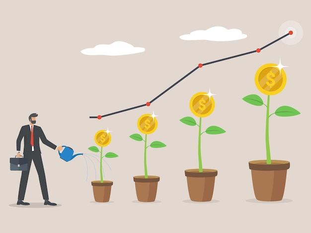 Plant money coin tree growth illustration for investment concept, businessman watering dollar tree, economic growth and business profit.