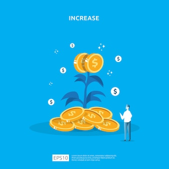 Plant money coin tree growth illustration for investment concept.
