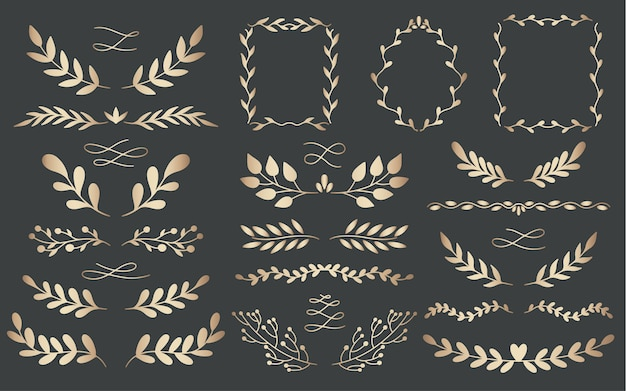 Plant nature gold dividers hand drawn set. collection botanical element. elegante vintage style.