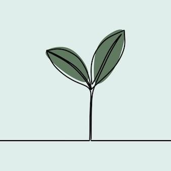 植物の性質oneline連続線画プレミアムベクトル