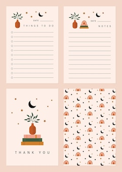 Plant to do and notes planner template set in vector