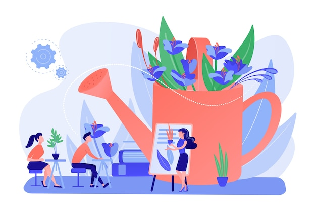 Vivaio, corsi di floristica, lezione di pulizia. laboratorio di giardinaggio, programmi di formazione sul giardinaggio, esperti di giardinaggio biologico qui concetto. pinkish coral bluevector illustrazione isolata