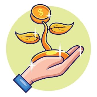 手でお金のコインの成長の植物ビジネス投資の成長の概念設計。プレミアムベクトル