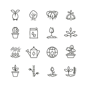 Plant, planting and seed line icons. sprout growing symbols