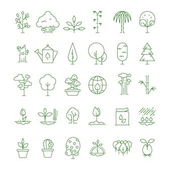 Plant, planting, seed and trees line  icons