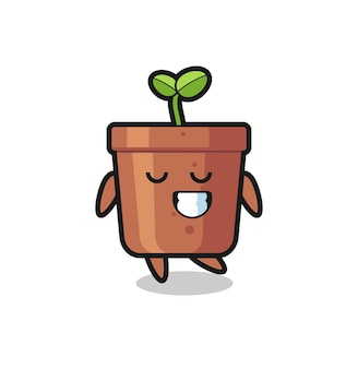 Plant pot cartoon illustration with a shy expression , cute style design for t shirt, sticker, logo element
