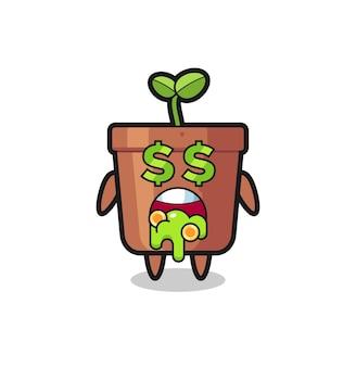 お金に夢中な表情の植木鉢キャラクター、tシャツのキュートなスタイルデザイン、ステッカー、ロゴ要素
