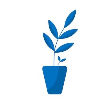Значок горшок с растением. символ цветочных растений. кнопка садоводства. векторная иллюстрация плоский, изолированные на белом фоне Premium векторы