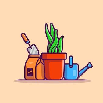 Illustrazione dell'icona del fumetto della pianta, della pentola, del bollitore e della pala. natura oggetto icona concetto