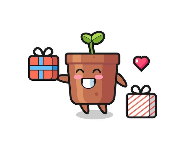 선물을 주는 식물 냄비 마스코트 만화, 티셔츠, 스티커, 로고 요소를 위한 귀여운 스타일 디자인