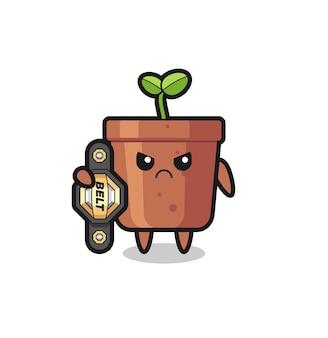 チャンピオンベルト、tシャツ、ステッカー、ロゴ要素のかわいいスタイルのデザインでmmaファイターとして植木鉢のマスコットキャラクター