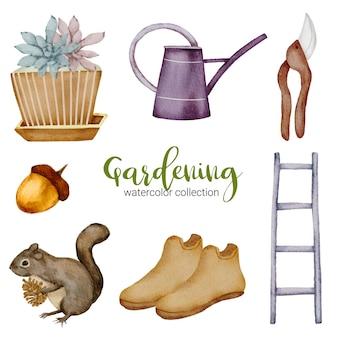 植木鉢、リス、ブーツ、はさみ、はしご、じょうろ、庭をテーマにした水彩風の園芸用品のセット。