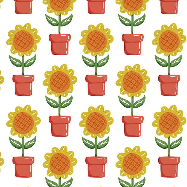 Plant seamless pattern with hand drawn sunflower