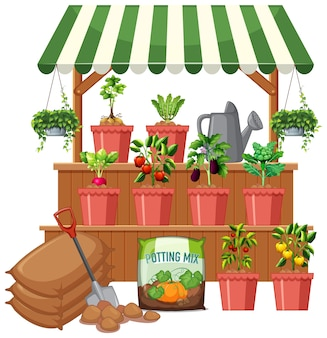 Plant shop with many vegetable tree on white background