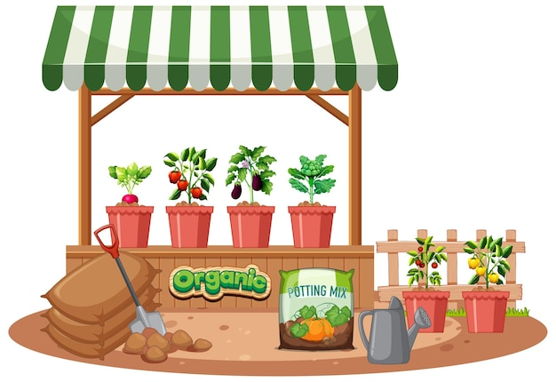 Plant shop with striped awning