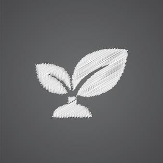 暗い背景に分離された植物スケッチロゴ落書きアイコン