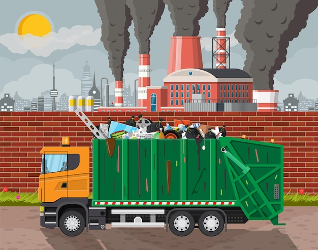 Plant smoking pipes. smog in city. trash emission from factory. grey sky polluted trees grass. garbage truck full of trash. environmental pollution ecology nature. vector illustration flat style